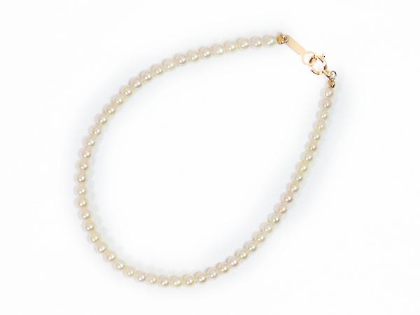 あこや真珠ブレスレット<2.5〜3mm>引き輪とプレートタイプ/K18YG(17.5cm)V-1670