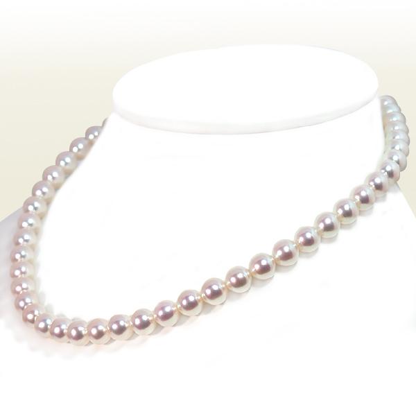 オーロラ天女・無調色 花珠真珠あこや真珠ネックレス<8〜8.5mm>鑑別書付 N-12290