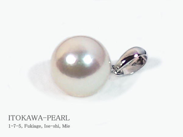 あこや真珠ペンダントトップ<8.7mm>K14WG P-8309