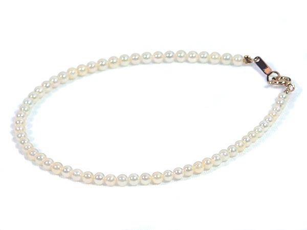あこや真珠ブレスレット<2.5〜3mm>引き輪とプレートタイプ/K18YG(18.5cm)V-1664