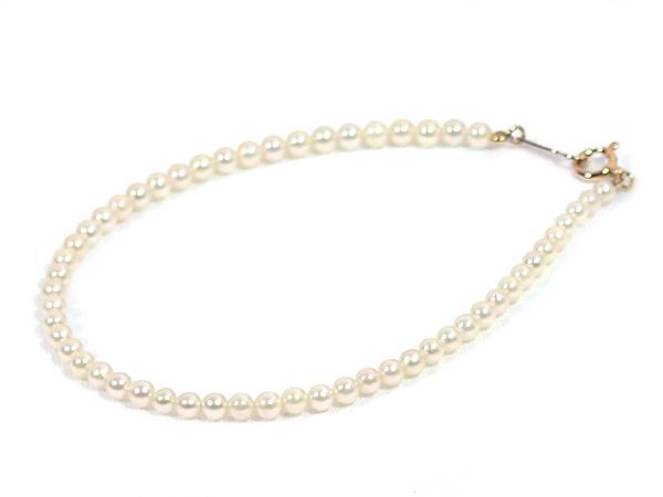 あこや真珠ブレスレット<2.5〜3mm>引き輪とプレートタイプ/K18YG(17cm)V-1671
