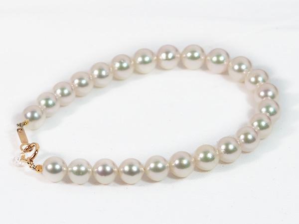 あこや真珠ブレスレット<6.5〜7mm>引き輪とプレートタイプ/K18YG(18cm)V-1692