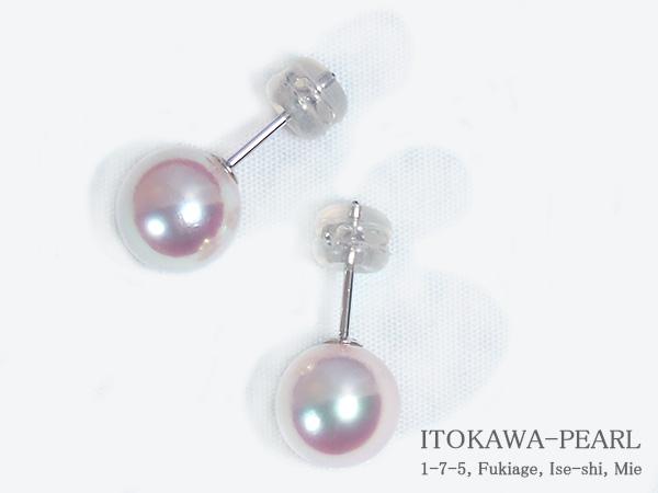 あこや真珠ピアス<8.6mm>スタッド・K14WG PE-7045