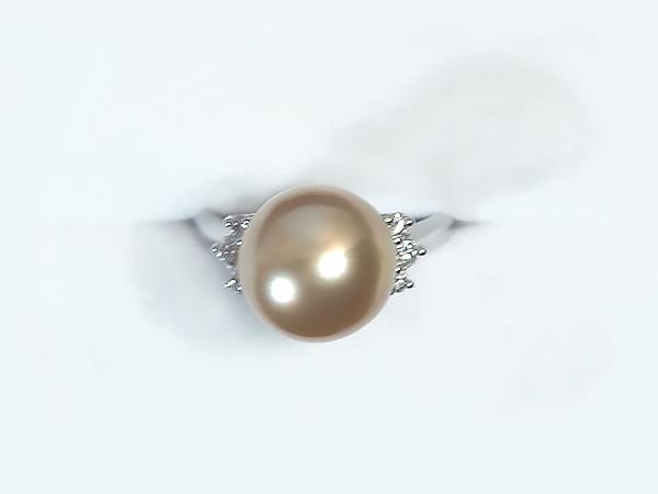 ゴールド系南洋白蝶真珠リングパール リング <11mm>プラチナ・ダイヤモンド0.2ct南洋白蝶真珠 R-13832