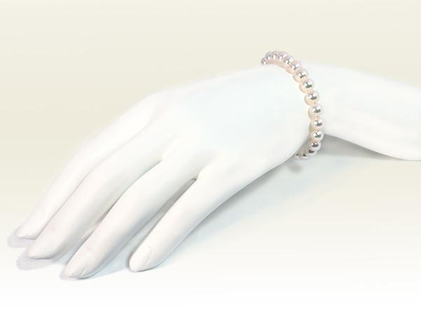 あこや真珠ブレスレット<6.5〜7mm>引き輪とプレートタイプ/K18YG(17cm)V-1690