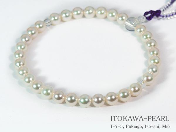 あこや真珠念珠(数珠)<8〜8.5mm>正絹(紫)J-468
