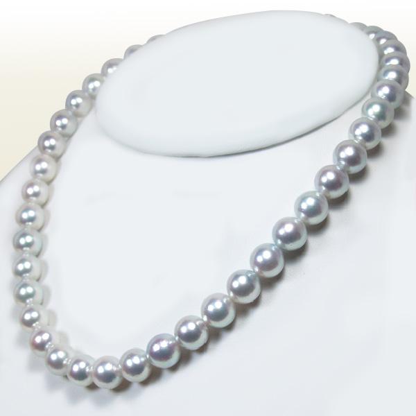花珠真珠 範疇グレー系 (ナチュラルカラー)あこや真珠ネックレスパールネックレス<9.5〜10mm>アコヤ真珠 鑑別書付 N-8476
