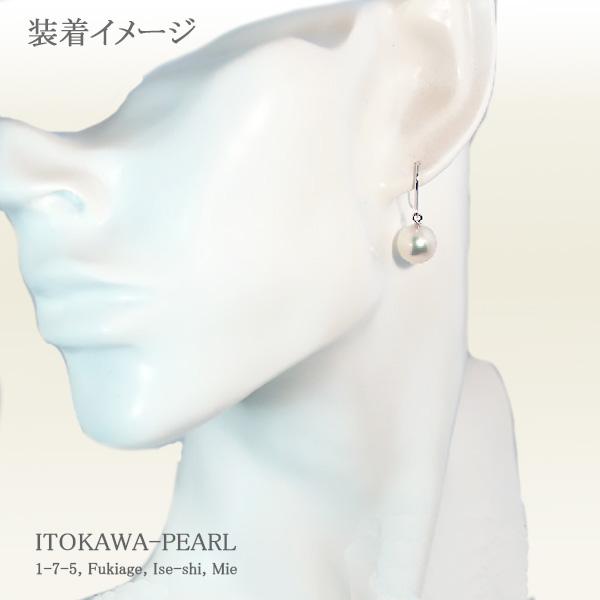 ホワイト系あこや真珠ピアスパールピアス<9.1mm>アメリカン・K14WGアコヤ真珠 PE-6585