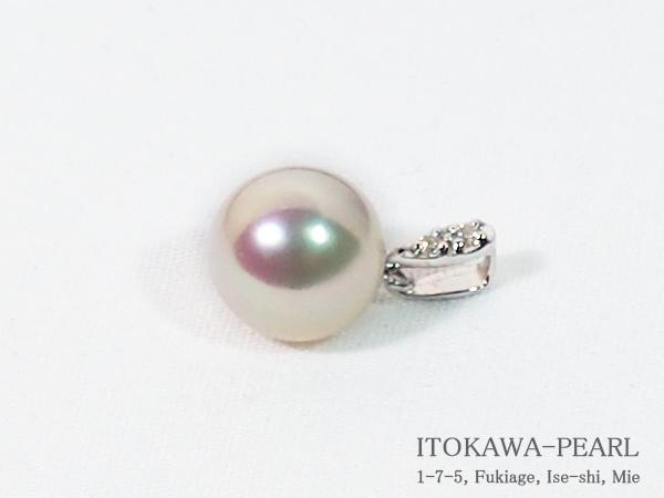 花珠真珠ペンダントトップ<8.4mm>K18WG・ダイヤモンド 0.02ct鑑別書付 P-8304