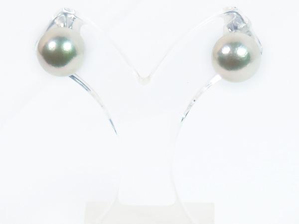 無調色花珠真珠あこや真珠ピアス<9mm>スタッド・PT900鑑別書付 PE-7132