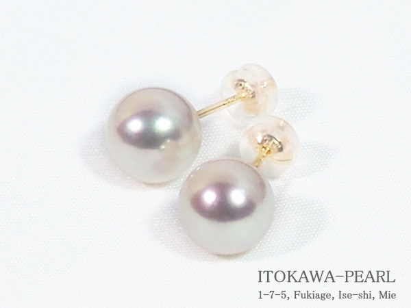 無調色花珠真珠あこや真珠ピアス<9mm>スタッド・K18YG鑑別書付 PE-7133