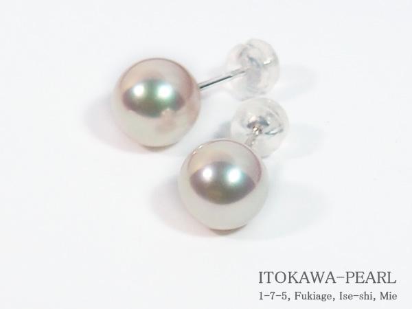 花珠真珠あこや真珠ピアス<8.6mm>スタッド・K14WG鑑別書付 PE-7124
