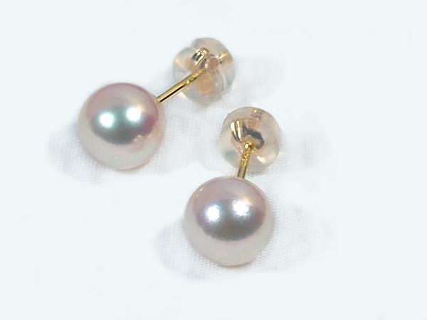 花珠真珠 範疇 あこや真珠ピアス<7.6mm>スタッド・K18YG 鑑別書付 PE-6911