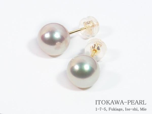 花珠真珠あこや真珠ピアス<8.5mm>スタッド・K18YG鑑別書付 PE-7125