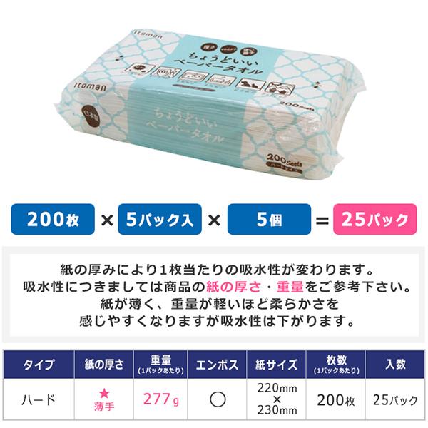 ちょうどいい 200枚 ペーパータオル ハードタイプ 50200023[◇]