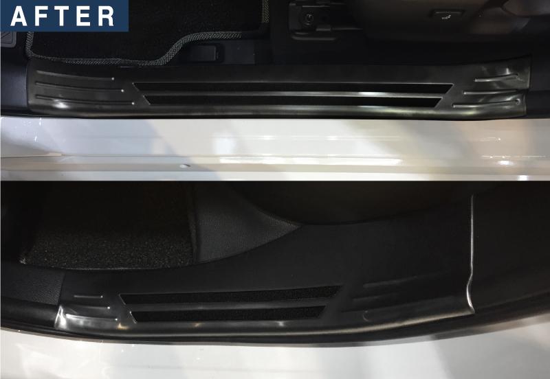 カローラスポーツ/カローラツーリング スカッフプレート サイドステップ内側 4P トヨタ TOYTOA COROLLA SPORTS/TOURING 210系 ブラックヘアライン カスタムパーツ ドレスアップ アフターパーツ エアロ