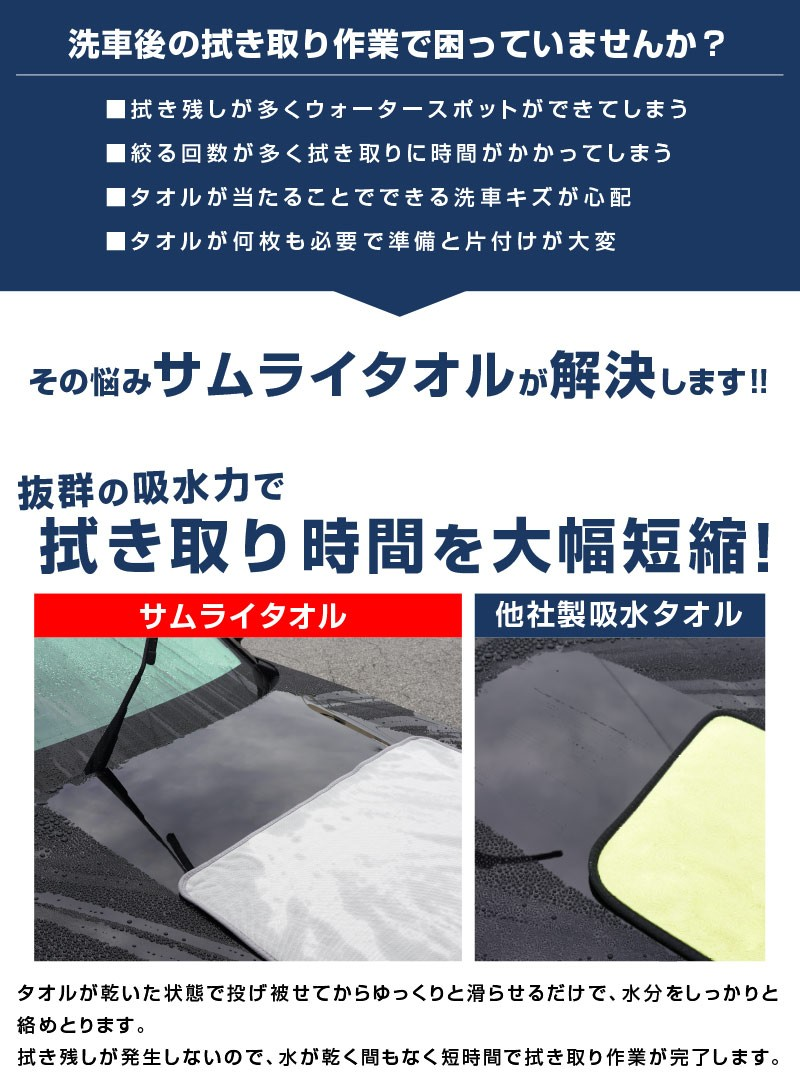 マイクロファイバータオル Lサイズ 70cm×90cm & ディテーリングタオル 40cm×40cm サムライプロデュースオリジナル商品 洗車の拭き上げに最適なタオルセット