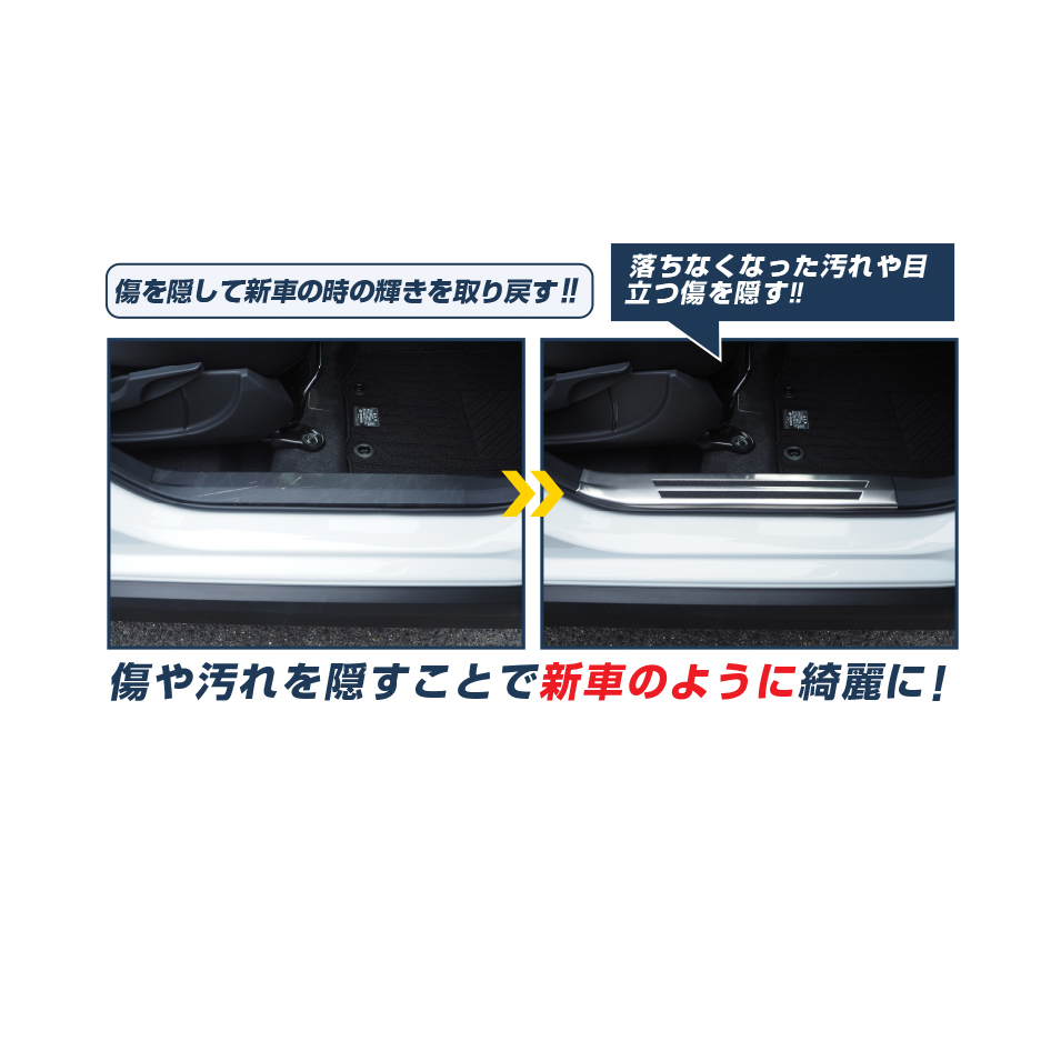 ステップワゴン スカッフプレート すべり止め付き 6P ホンダ HONDA STEPWGN RP系 スパーダ対応 SPADA サイドステップ シルバーカスタム 専用 パーツ ドレスアップ アクセサリー オプション エアロ