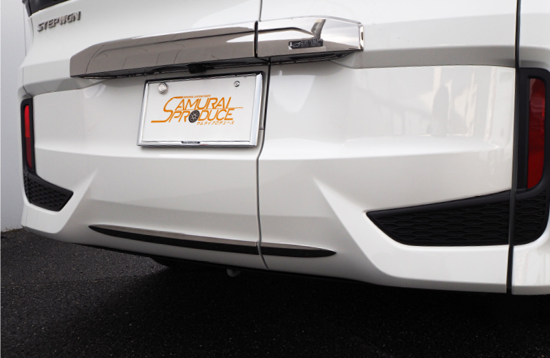 ステップワゴン リアバンパー ガーニッシュ ダーククロームメッキ近似色 2P|ホンダ HONDA STEPWGN スパーダ RP系 メッキ カスタム 専用 パーツ ドレスアップ アクセサリー オプション エアロ