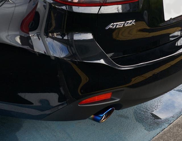 アテンザ ATENZA GJ系 オーバル マフラーカッター スラッシュカット チタンカラー シングルタイプ 2本セット カスタムパーツ ドレスアップ アクセサリー