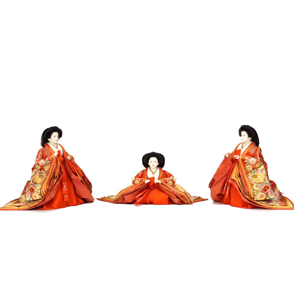【雛人形】京七番 紫・赤刺繍 五人揃い三段飾り〈望月龍翠作〉