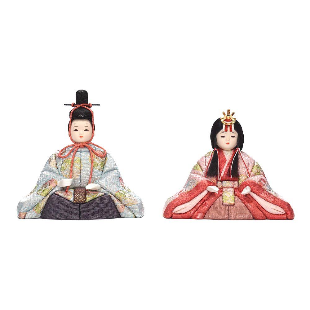 【木目込人形】桃山雛(水色・ピンク) 親王飾り〈木村一秀作〉