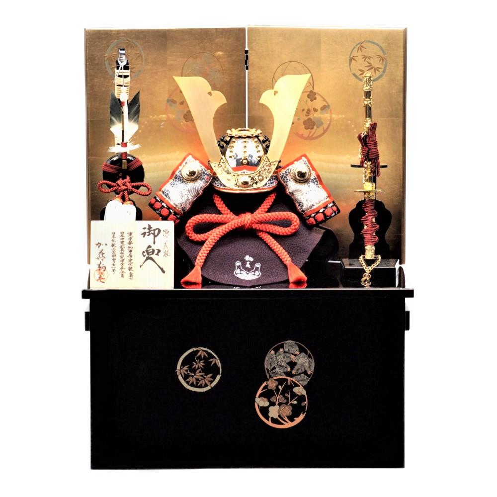 【五月人形】三分之一 源義経 紺裾濃威 兜収納飾り〈加藤鞆美作〉