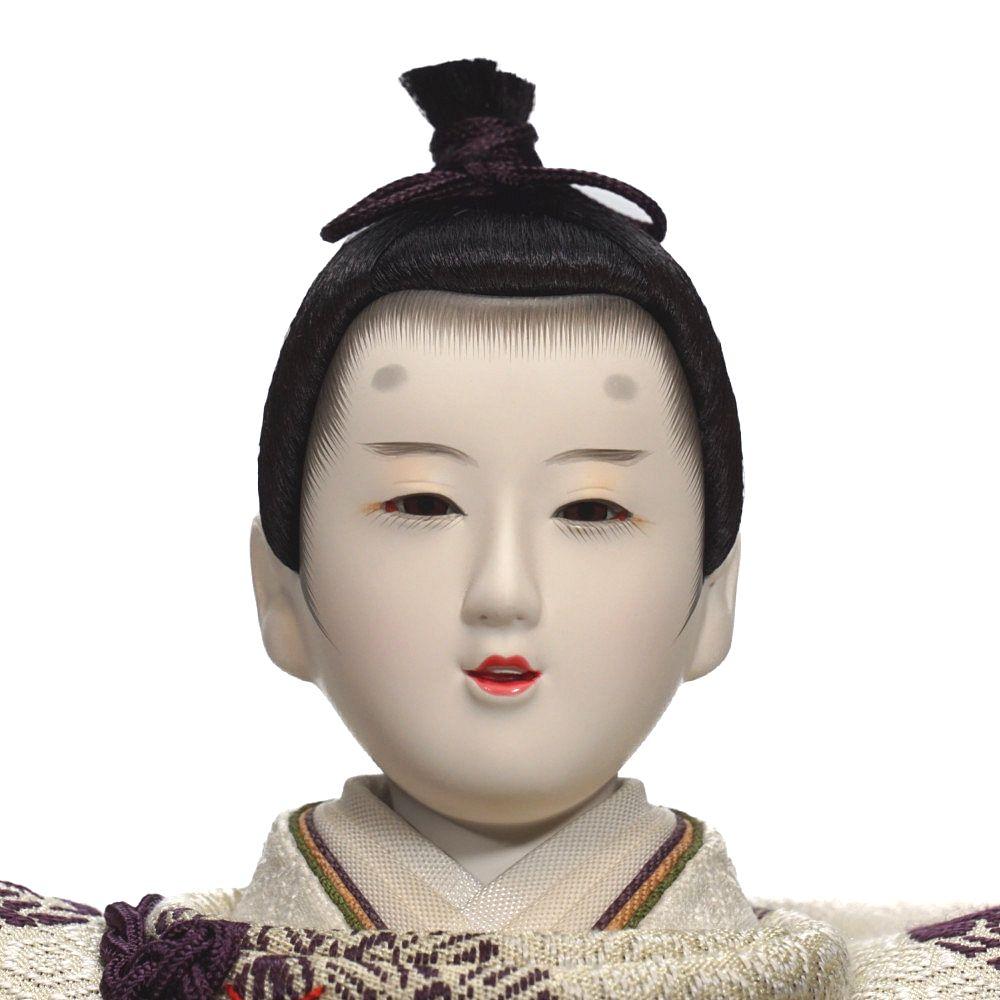 【雛人形】京十番 有職(白・紫) 親王飾り〈望月龍翠作〉