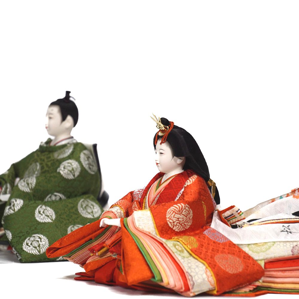 【雛人形】京十番 平安 小葵地松喰鶴丸文様 五人揃い二段飾り〈小出松寿作〉