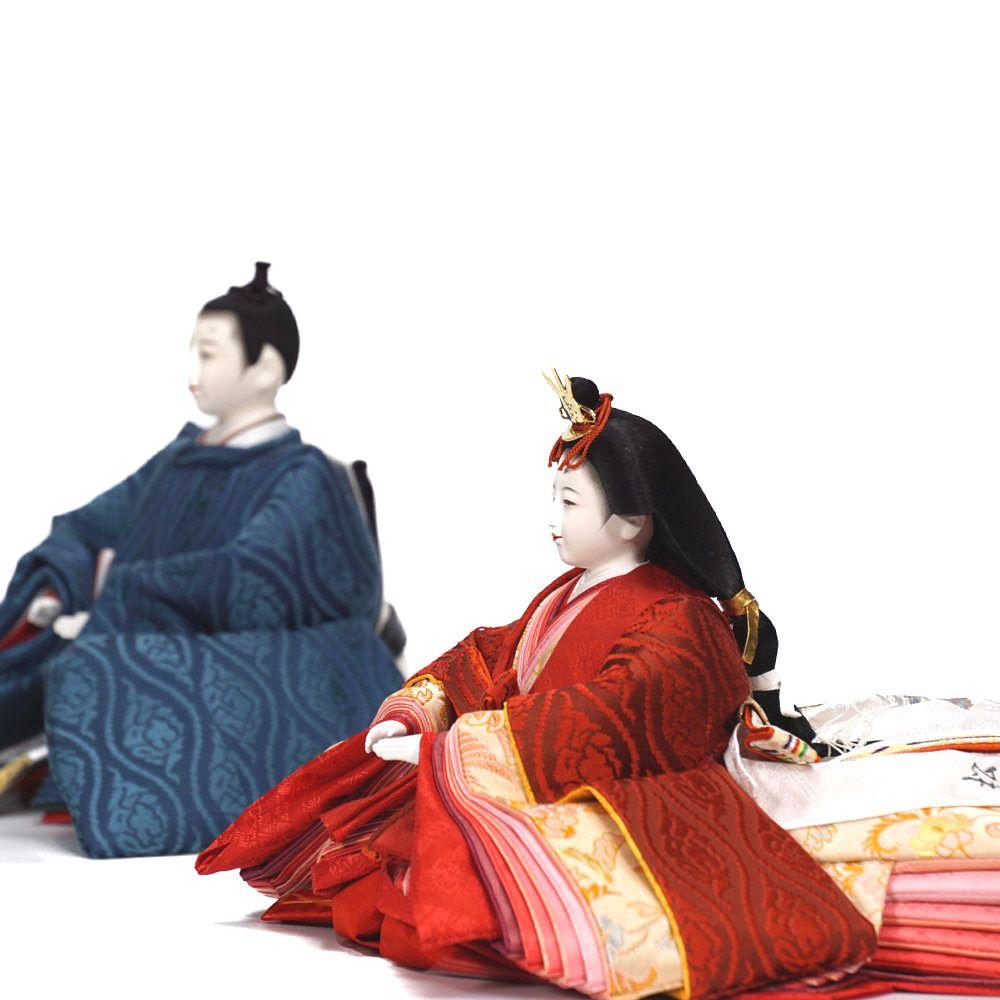【雛人形】京十番 高雄 雲立涌文様 泥染め 五人揃い二段飾り〈小出松寿作〉