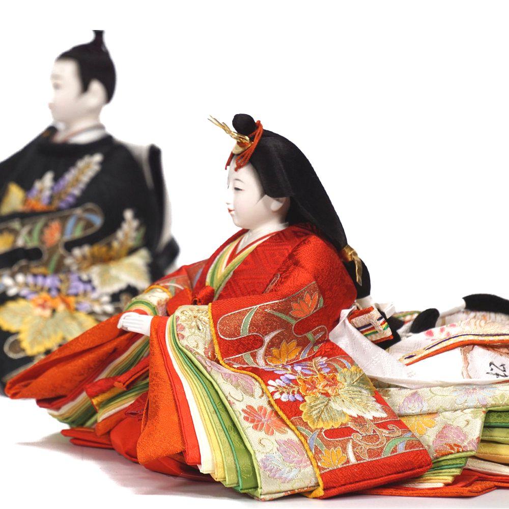 【雛人形】京十番 金彩京刺繍 霞に桐文様 親王揃い収納飾り〈小出松寿作〉