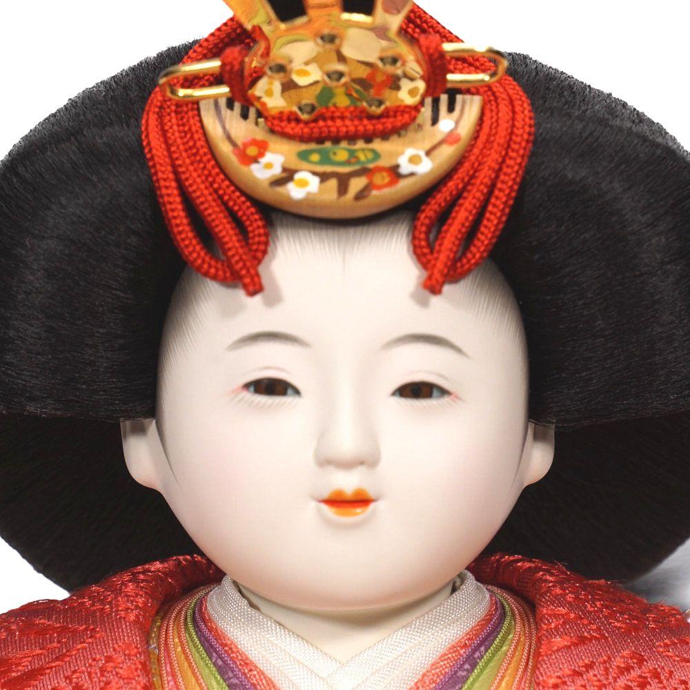 【雛人形】五寸 おぼこ雛 襷地兎花丸文様 五人揃い三段収納飾り〈小出松寿作〉