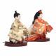 【雛人形】三寸おぼこ 檜垣に花の丸文様 親王揃い立雛飾り〈小出松寿作〉