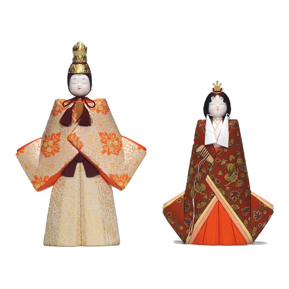 【木目込人形】立雛 寿々喜雛 龍村織 親王揃いガラスケース飾り〈鈴木賢一作〉