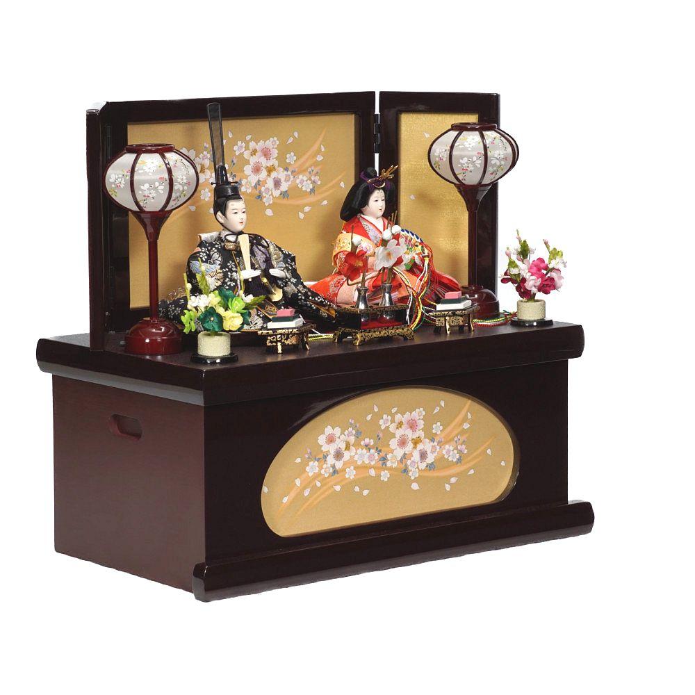 【雛人形】芥子 ぶどう色塗 「薫」 親王揃い収納飾り〈美光作〉