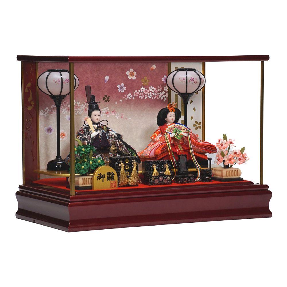【雛人形】小三五 ワインレッド塗 奥六角形 親王揃いガラスケース飾り〈河雲作〉