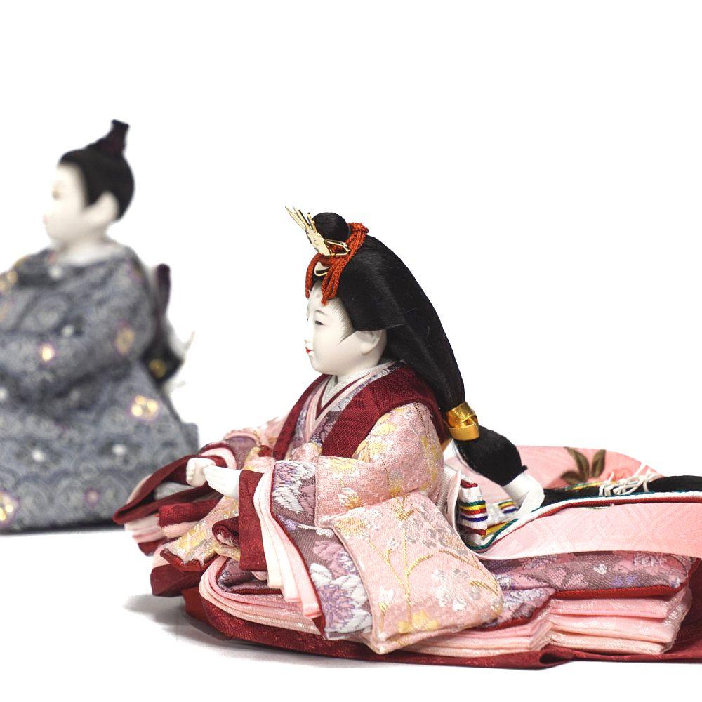 【雛人形】京十四番 紅溜塗 親王揃い収納飾り〈恵翠作〉