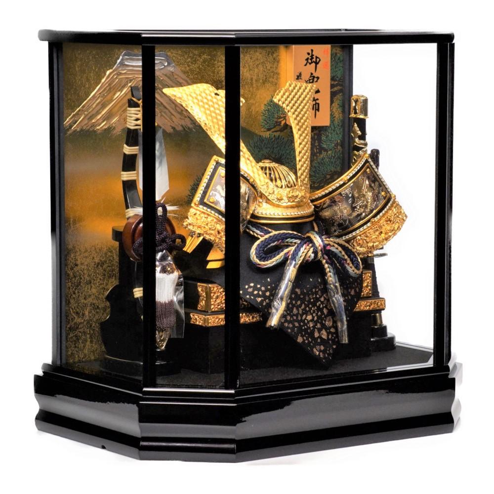 【五月人形】10号 彫金中鍬 兜ガラスケース飾り〈雅秀作〉