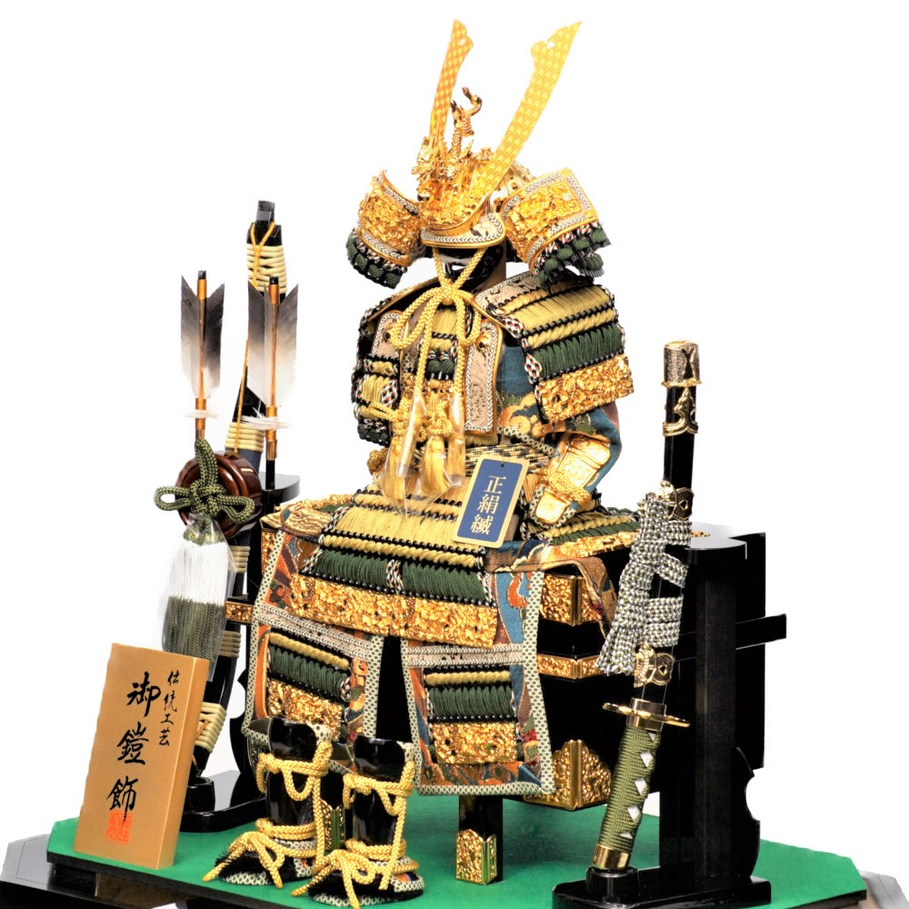 【五月人形】5号 特製緑段威 鎧ガラスケース飾り〈雅秀作〉