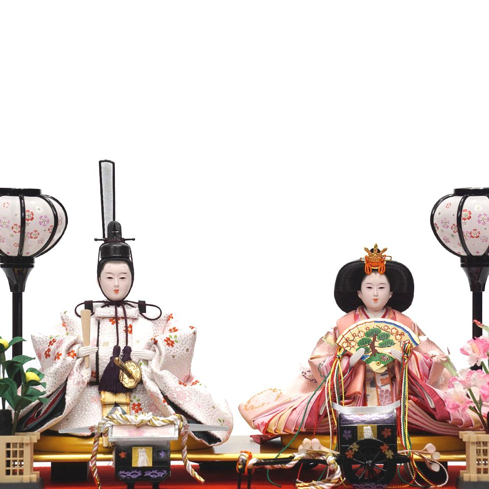 【雛人形】三五 マホガニ塗 ガラスケース飾り〈河雲作〉