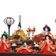【雛人形】芥子 黄櫨染(上) 五人揃いガラスケース飾り〈京甫作〉