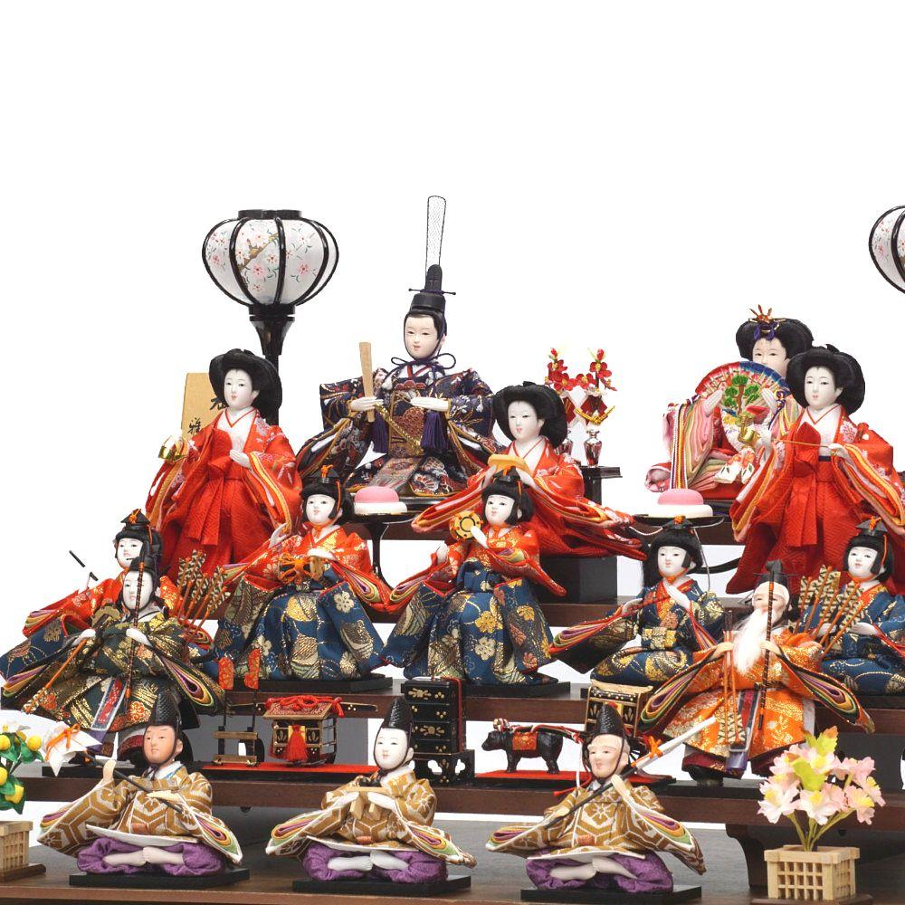 【雛人形】小芥子 胡桃塗 十五人揃いガラスケース飾り〈雅秀作〉