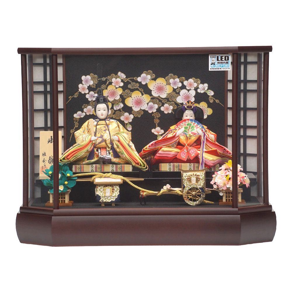 【雛人形】芥子 LED照明 八角形 親王揃いガラスケース飾り〈雅秀作〉