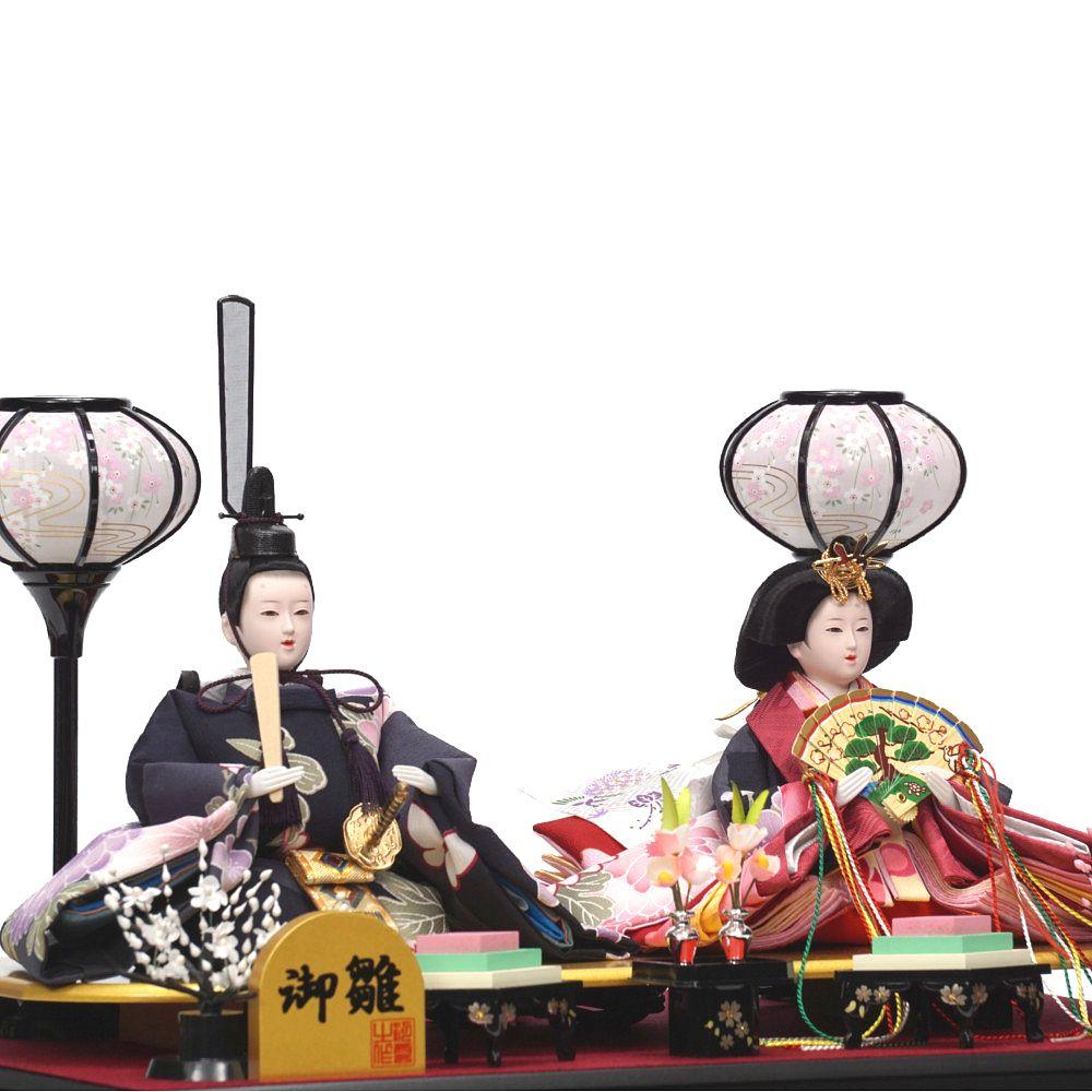 【雛人形】小三五 金花丸 六角形 親王揃いガラスケース飾り〈河雲作〉