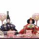 【雛人形】小芥子 青/パールホワイト塗 親王揃いガラスケース飾り〈河雲作〉