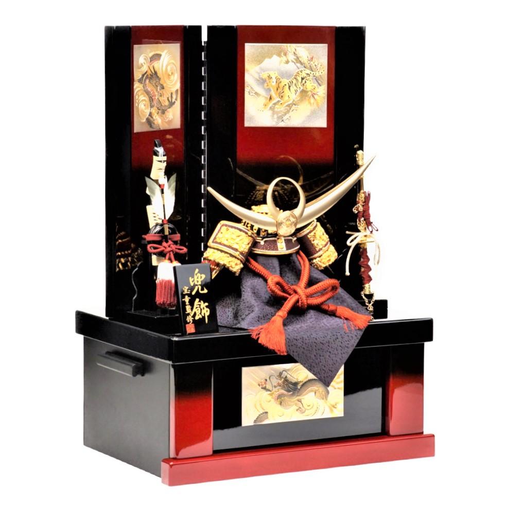 【五月人形】10号 極上上杉 彫金龍虎 兜収納飾り〈宝童作〉