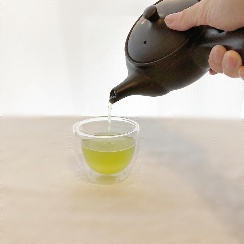 ダブルウォールグラス 100ml 2個セット+特選深蒸し茶 100g 【送料無料】 おしゃれ ホット アイス 耐熱 グラス