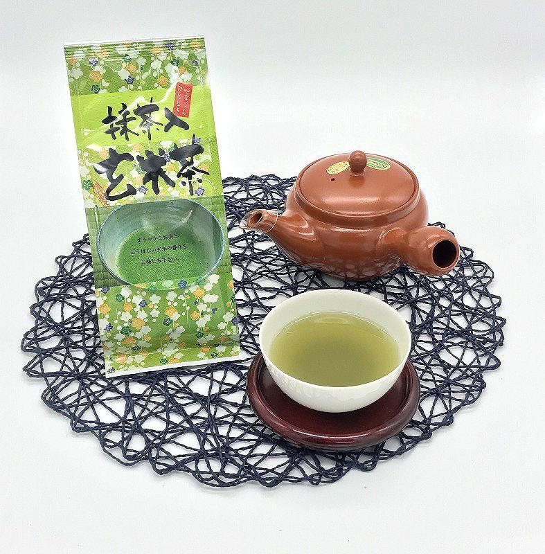 抹茶入り玄米茶 100g 大きめ常滑急須550ml 1つ 【ネット限定特別商品!】 セット 抹茶の甘みと国産玄米の香ばしい日本茶 カフェインレス スタートセット