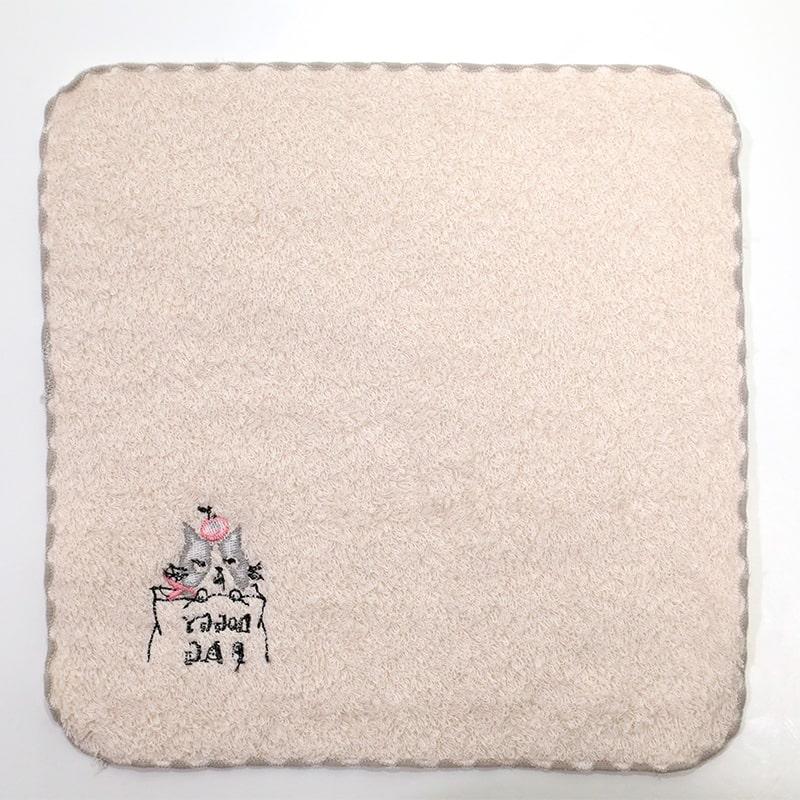 【ポワポワチック】 タオルハンカチ   ドギーバッグ ねこ柄 ベージュ  Shinzi Katoh ※ハンカチよりどり3点で10%OFF