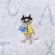 【キャットン】タオルハンカチ 学者猫  ブルー ジャガード織  Shinzi Katoh ※ハンカチよりどり3点で10%OFF